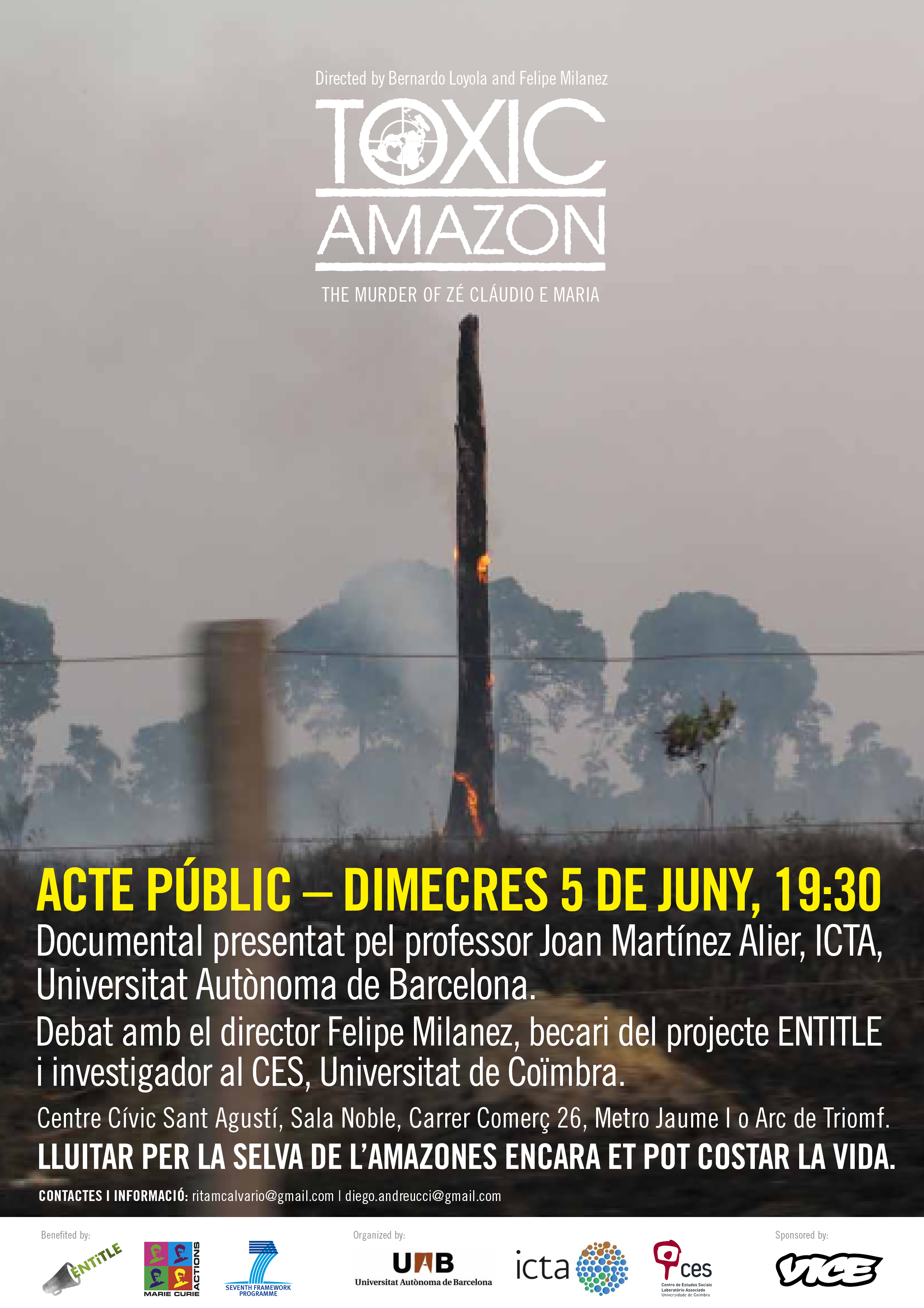 Projecció del Documental: «Toxic Amazon: The Murder of Zé Claudio e Maria»